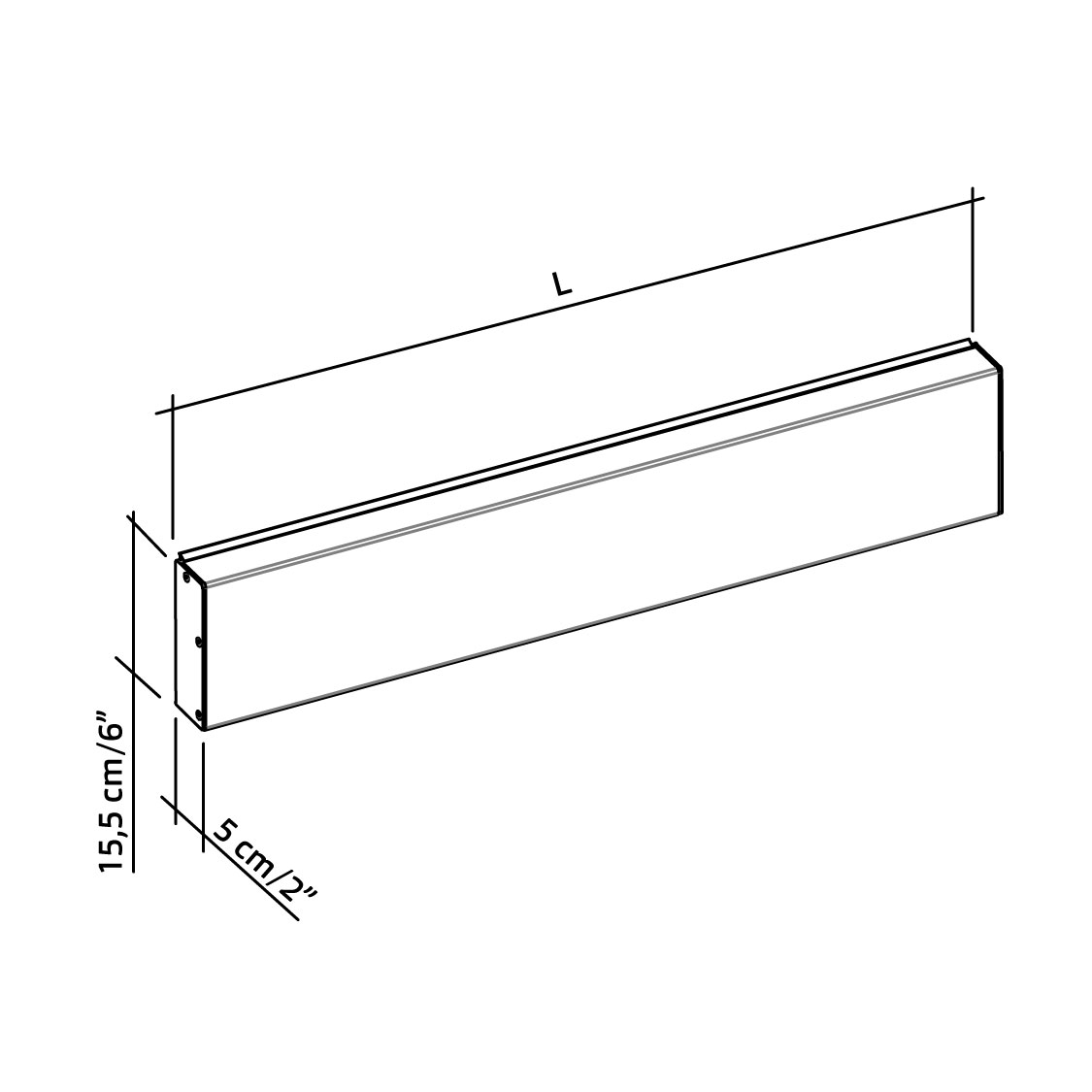 11-103-xx-wall-mounted-horizontal-track-with-cover-for-coating-and-side-caps-diagram