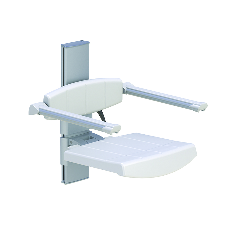 WALL MOUNTED SHOWER SEAT WITH BACKREST & ARMREST, HEIGHT ADJUSTABLE ...