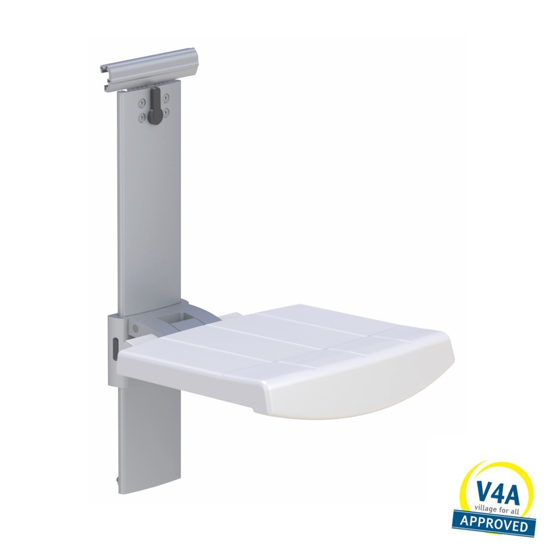 Shower seat for horizontal track height and sideways adjustable
