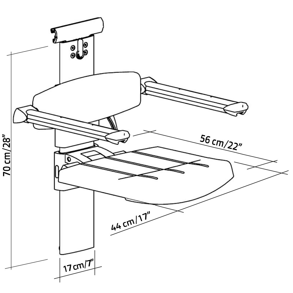 31-142-xx-shower-seat-for-horizontal-track-with-backrest-armrest-height-and-sideways-adjustable-diagram